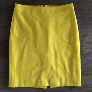 """J.Crew Yellow Wool """"The Pencil Skirt"""" Size 4"""